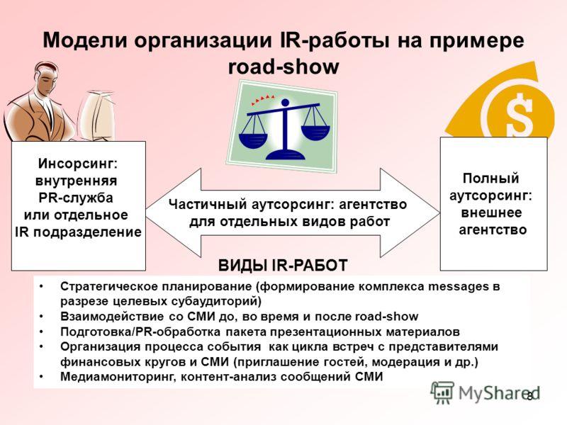 8 Модели организации IR-работы на примере road-show Частичный аутсорсинг: агентство для отдельных видов работ Инсорсинг: внутренняя PR-служба или отдельное IR подразделение Полный аутсорсинг: внешнее агентство Стратегическое планирование (формировани