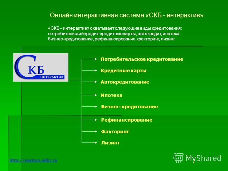 Онлайн интерактивная система «СКБ - интерактив» «СКБ - интерактив» охватывает следующие виды кредитования: потребительский кредит, кредитные карты, автокредит, ипотека, бизнес-кредитование, рефинансирование, факторинг, лизинг. Потребительское кредито