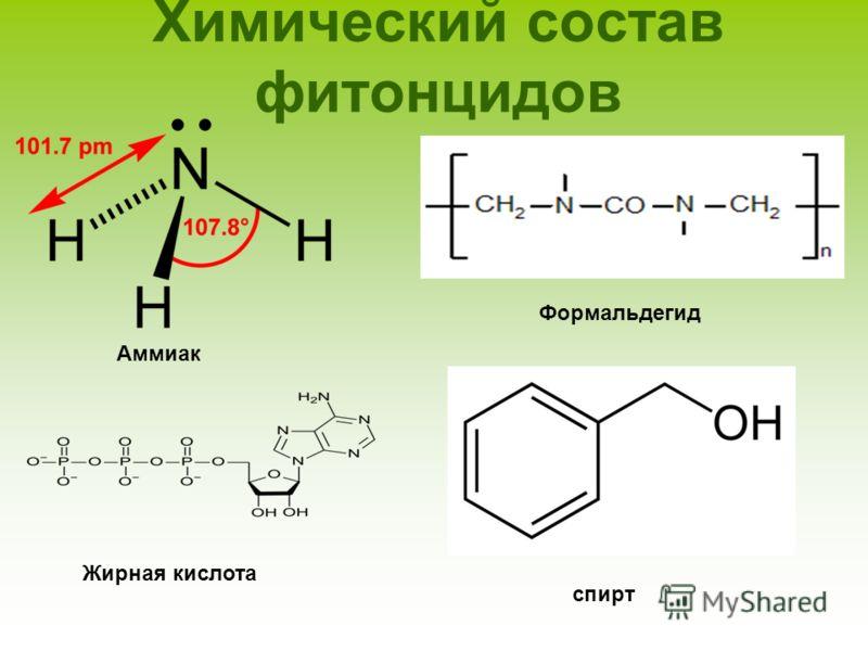 Химический состав фитонцидов Аммиак Жирная кислота Формальдегид спирт