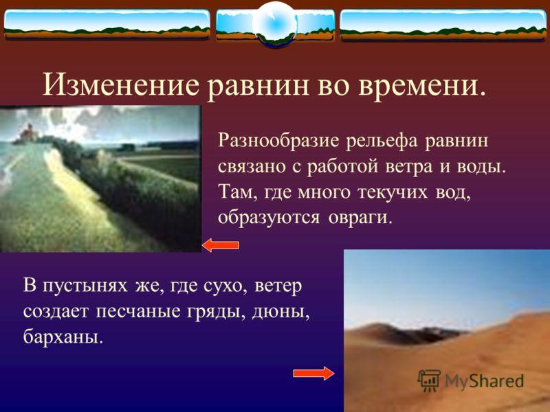По характеру поверхности равнины бывают: Холмистые равнины- равнины, имеющие холмы,овраги, понижения. Плоские равнины- равнины, имеющие ровную поверхность.