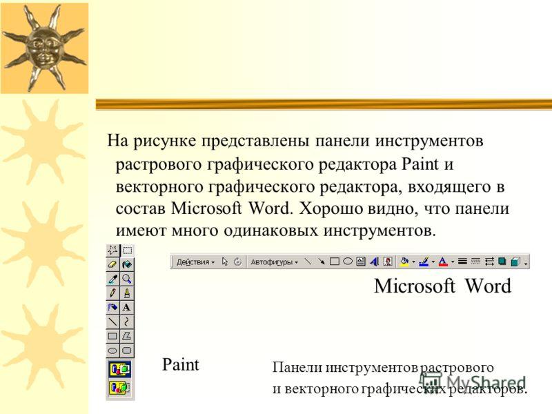 На рисунке представлены панели инструментов растрового графического редактора Paint и векторного графического редактора, входящего в состав Microsoft Word. Хорошо видно, что панели имеют много одинаковых инструментов. Microsoft Word Paint Панели инст