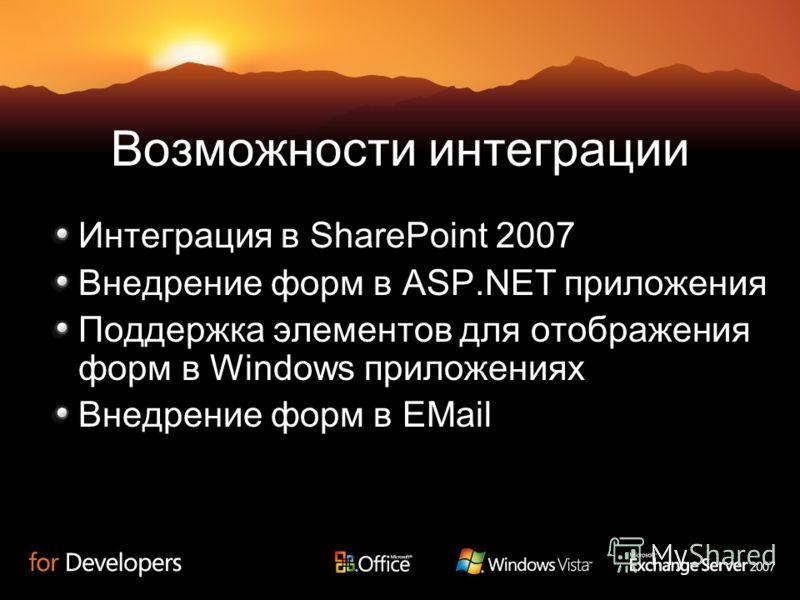 Возможности интеграции Интеграция в SharePoint 2007 Внедрение форм в ASP.NET приложения Поддержка элементов для отображения форм в Windows приложениях Внедрение форм в EMail