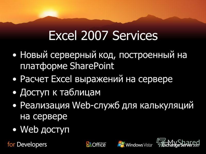 Excel 2007 Services Новый серверный код, построенный на платформе SharePoint Расчет Excel выражений на сервере Доступ к таблицам Реализация Web-служб для калькуляций на сервере Web доступ