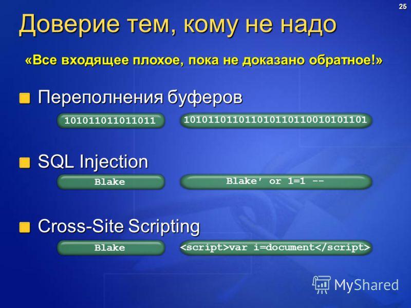 25 Доверие тем, кому не надо Переполнения буферов SQL Injection Cross-Site Scripting «Все входящее плохое, пока не доказано обратное!» 101011011011011 101011011011010110110010101101 Blake Blake or 1=1 -- Blake var i=document