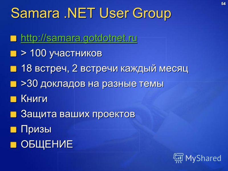 54 Samara.NET User Group http://samara.gotdotnet.ru > 100 участников 18 встреч, 2 встречи каждый месяц >30 докладов на разные темы Книги Защита ваших проектов ПризыОБЩЕНИЕ