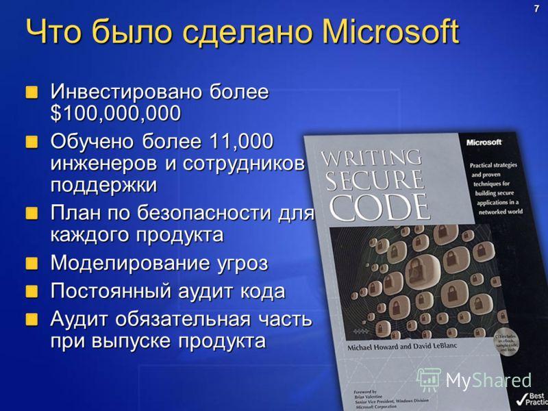 7 Что было сделано Microsoft Инвестировано более $100,000,000 Обучено более 11,000 инженеров и сотрудников поддержки План по безопасности для каждого продукта Моделирование угроз Постоянный аудит кода Аудит обязательная часть при выпуске продукта
