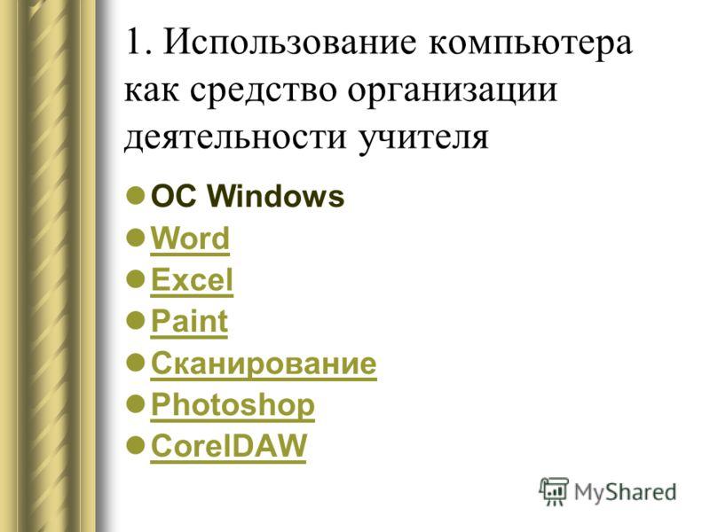 ОС Windows Word Excel Paint Сканирование Photoshop CorelDAW 1. Использование компьютера как средство организации деятельности учителя