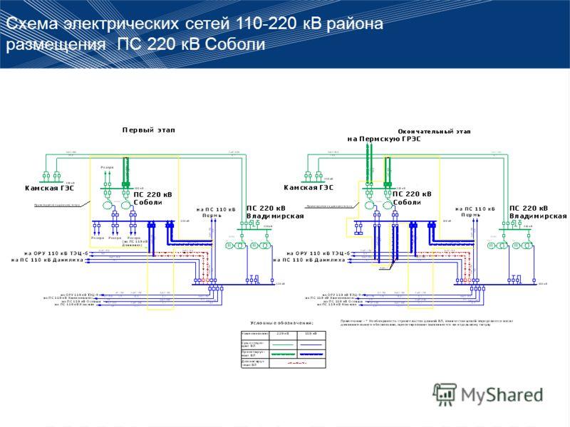 Схема электрических сетей 110-220 кВ района размещения ПС 220 кВ Соболи