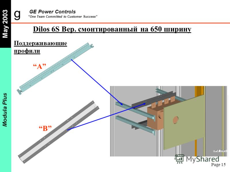 g GE Power Controls One Team Committed to Customer Success May 2003 Modula Plus Page 15 Поддерживающие профили Dilos 6S Вер. смонтированный на 650 ширину A B