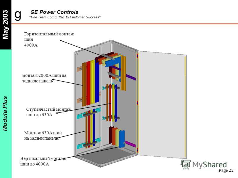 g GE Power Controls One Team Committed to Customer Success May 2003 Modula Plus Page 22 Горизонтальный монтаж шин 4000A монтаж 2000A шин на заднюю панель Ступенчастый монтаж шин до 630A Монтаж 630A шин на задней панели Вертикальный монтаж шин до 4000