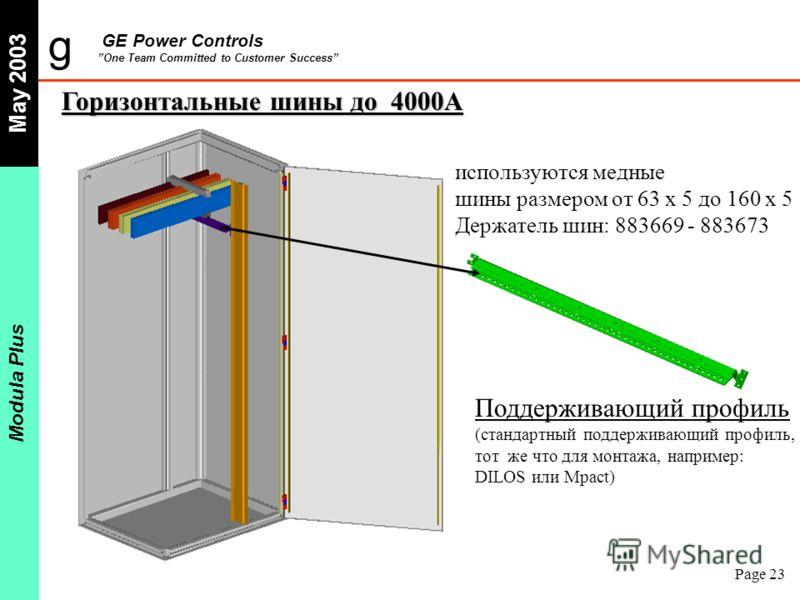 g GE Power Controls One Team Committed to Customer Success May 2003 Modula Plus Page 23 Горизонтальные шины до 4000A Поддерживающий профиль (стандартный поддерживающий профиль, тот же что для монтажа, например: DILOS или Mpact) используются медные ши