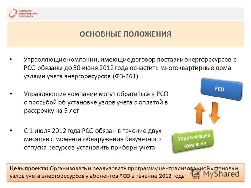 ОСНОВНЫЕ ПОЛОЖЕНИЯ Управляющие компании, имеющие договор поставки энергоресурсов с РСО обязаны до 30 июня 2012 года оснастить многоквартирные дома узлами учета энергоресурсов (ФЗ-261) Управляющие компании могут обратиться в РСО с просьбой об установк