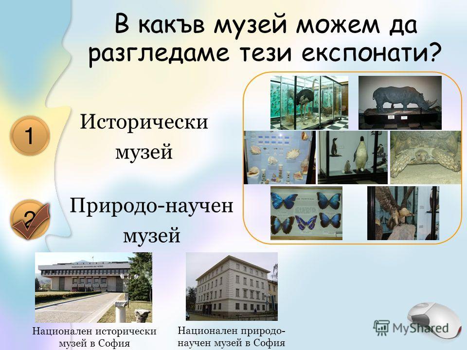 В какъв музей можем да разгледаме тези експонати? Исторически музей Природо-научен музей Национален исторически музей в София Национален природо- научен музей в София