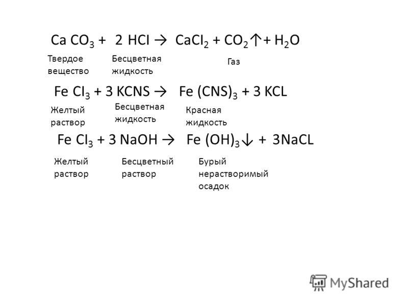Са СО 3 + НСI CaCI 2 + CO 2 + H 2 O2 Fe CI 3 + KCNS Fe (CNS) 3 + KCL33 Fe CI 3 + NaOH Fe (OH) 3 + NaCL33 Твердое вещество Бесцветная жидкость Газ Желтый раствор Бесцветная жидкость Красная жидкость Желтый раствор Бесцветный раствор Бурый нерастворимы