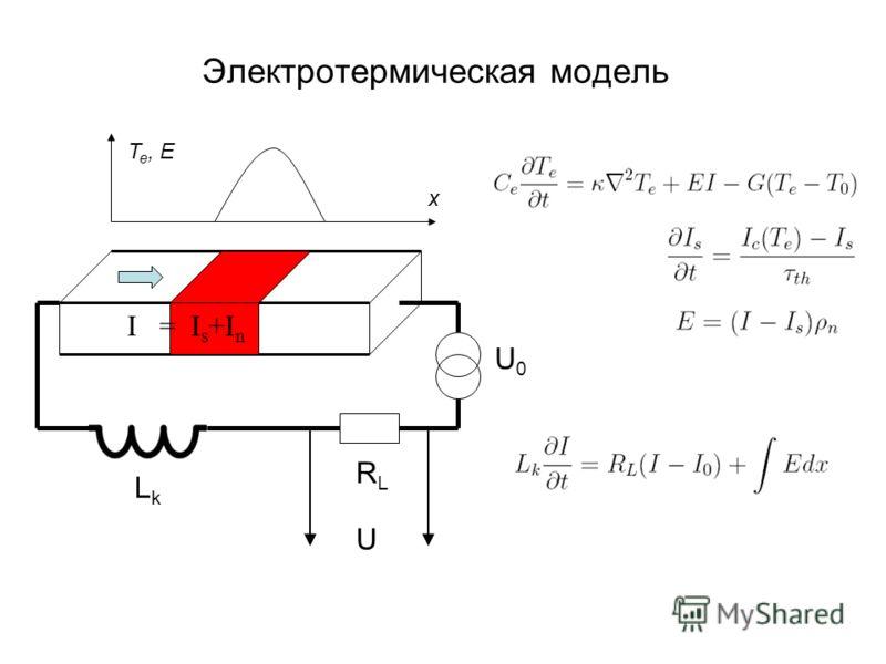 Электротермическая модель U0U0 RLRL LkLk U I = I s +I n T e, E x