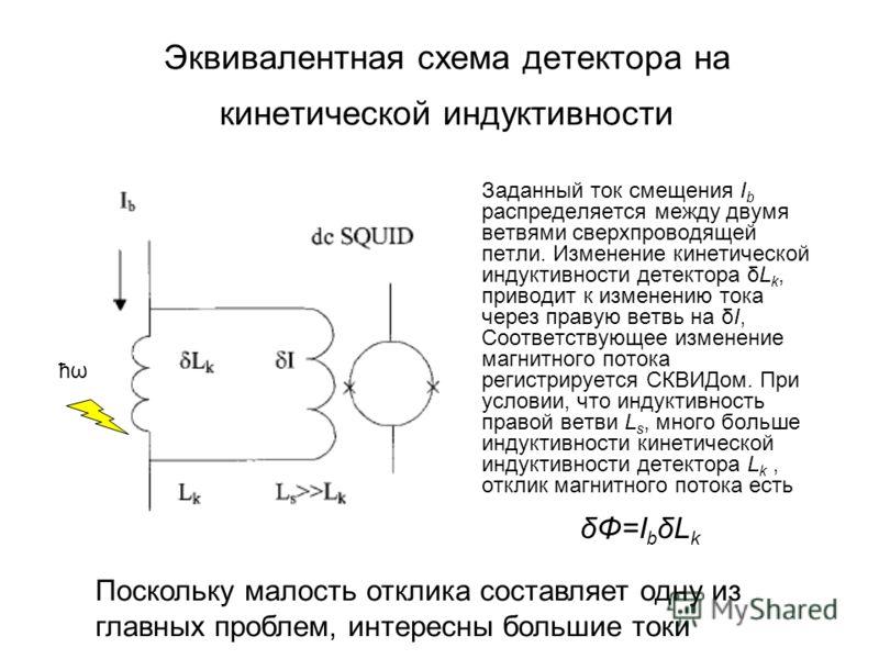 Эквивалентная схема детектора на кинетической индуктивности Заданный ток смещения I b распределяется между двумя ветвями сверхпроводящей петли. Изменение кинетической индуктивности детектора δL k, приводит к изменению тока через правую ветвь на δI, С