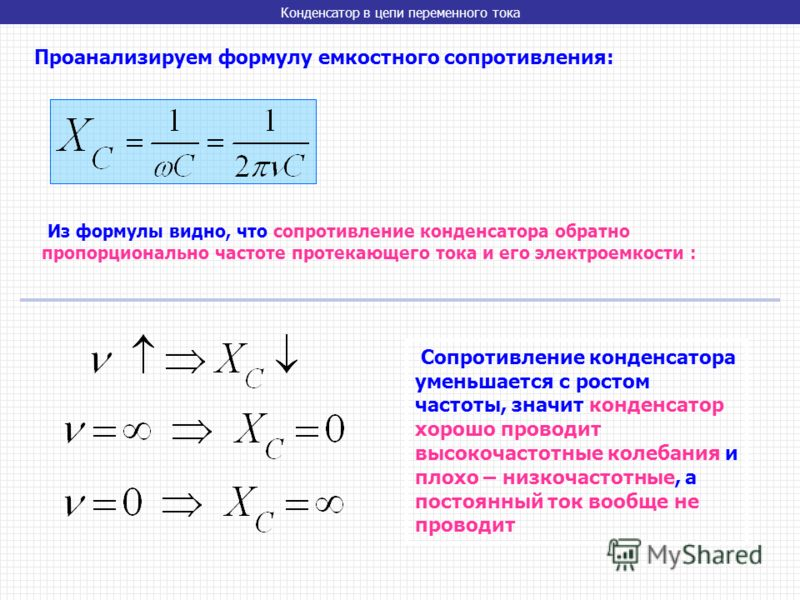 Конденсатор в цепи переменного тока Проанализируем формулу емкостного сопротивления: Из формулы видно, что сопротивление конденсатора обратно пропорционально частоте протекающего тока и его электроемкости : Сопротивление конденсатора уменьшается с ро