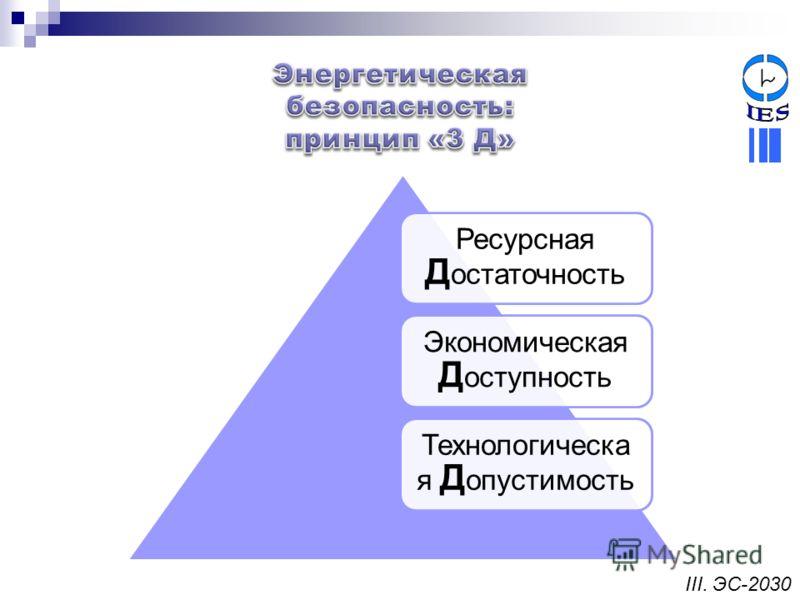 Ресурсная Д остаточность Экономическая Д оступность Технологическа я Д опустимость III. ЭС-2030