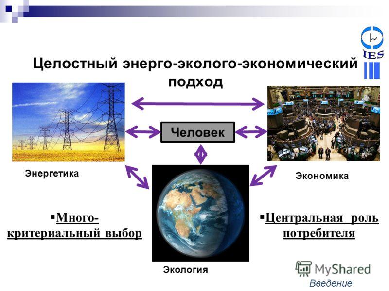 Целостный энерго-эколого-экономический подход Центральная роль потребителя Энергетика Экономика Человек Экология Много- критериальный выбор Введение