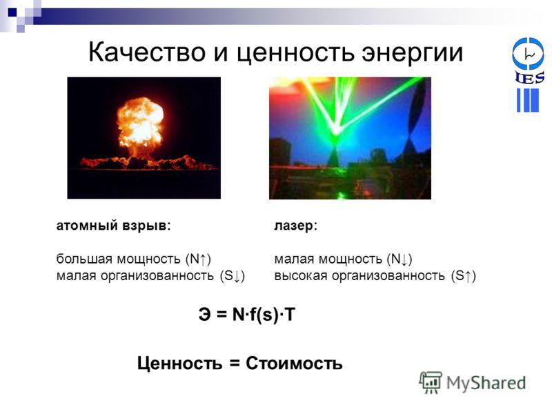 Качество и ценность энергии атомный взрыв: большая мощность (N) малая организованность (S) лазер: малая мощность (N) высокая организованность (S) Э = N·f(s)·T Ценность = Стоимость