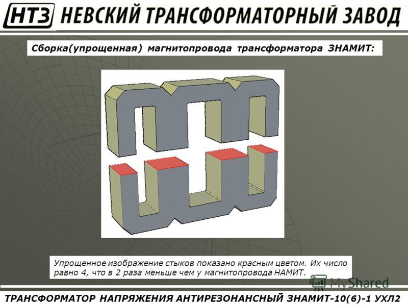 ТРАНСФОРМАТОР НАПРЯЖЕНИЯ АНТИРЕЗОНАНСНЫЙ ЗНАМИТ- 10(6) - 1 УХЛ2 Сборка(упрощенная) магнитопровода трансформатора ЗНАМИТ: Упрощенное изображение стыков показано красным цветом. Их число равно 4, что в 2 раза меньше чем у магнитопровода НАМИТ.