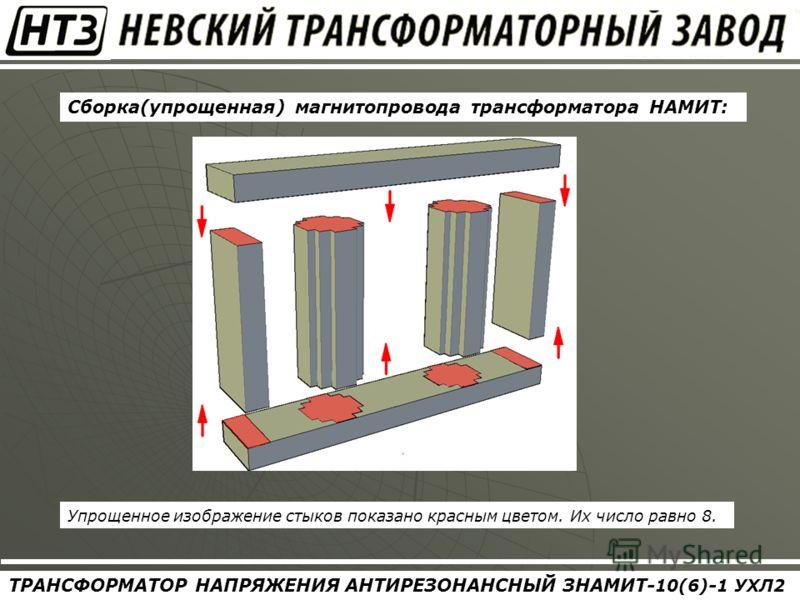 ТРАНСФОРМАТОР НАПРЯЖЕНИЯ АНТИРЕЗОНАНСНЫЙ ЗНАМИТ- 10(6) - 1 УХЛ2 Сборка(упрощенная) магнитопровода трансформатора НАМИТ: Упрощенное изображение стыков показано красным цветом. Их число равно 8.