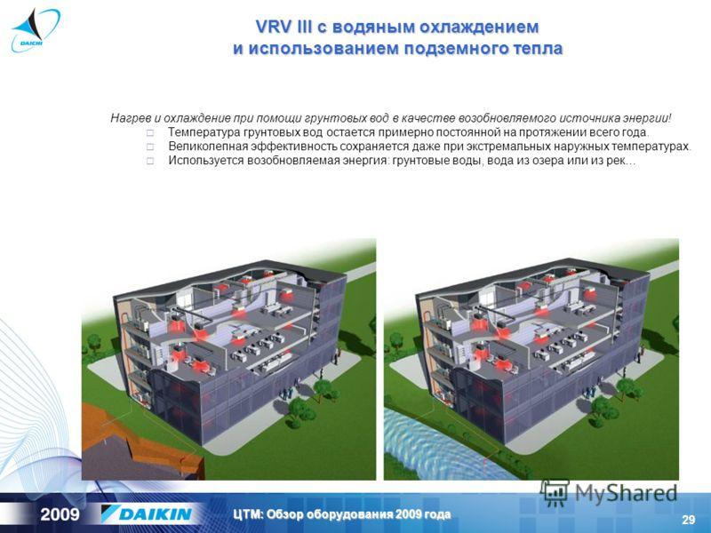 29 ЦТМ: Обзор оборудования 2009 года VRV III с водяным охлаждением и использованием подземного тепла Нагрев и охлаждение при помощи грунтовых вод в качестве возобновляемого источника энергии! Температура грунтовых вод остается примерно постоянной на