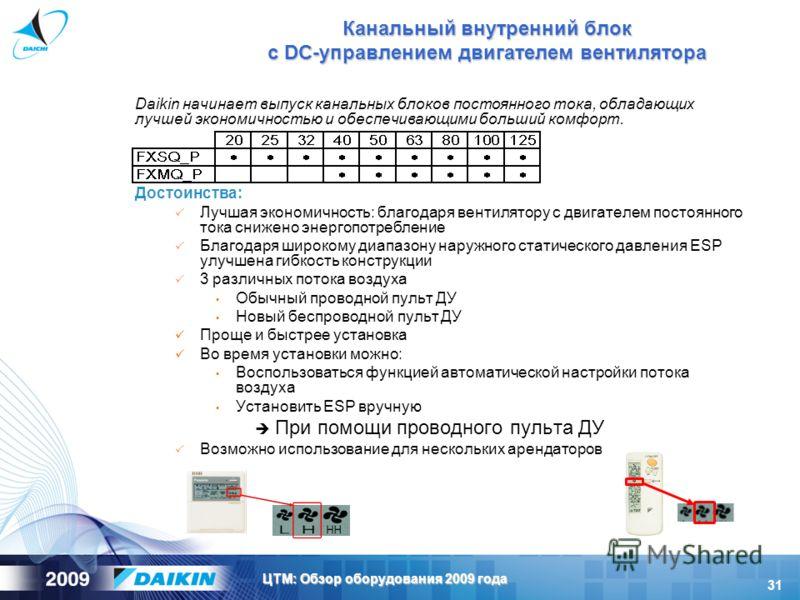31 ЦТМ: Обзор оборудования 2009 года Канальный внутренний блок с DC-управлением двигателем вентилятора Daikin начинает выпуск канальных блоков постоянного тока, обладающих лучшей экономичностью и обеспечивающими больший комфорт. Достоинства: Лучшая э