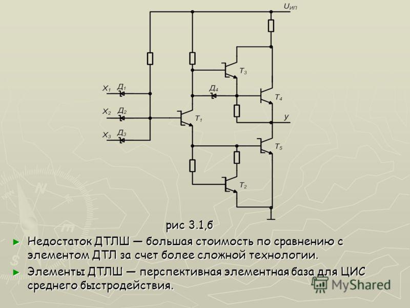 рис 3.1,б рис 3.1,б Недостаток ДТЛШ большая стоимость по сравнению с элементом ДТЛ за счет более сложной технологии. Недостаток ДТЛШ большая стоимость по сравнению с элементом ДТЛ за счет более сложной технологии. Элементы ДТЛШ перспективная элементн