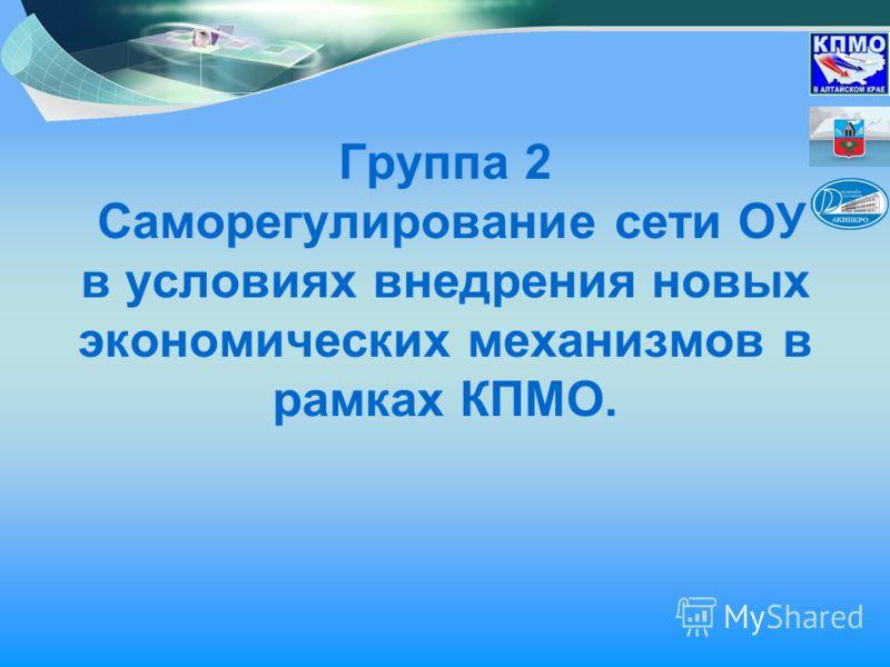 Группа 2 Саморегулирование сети ОУ в условиях внедрения новых экономических механизмов в рамках КПМО.