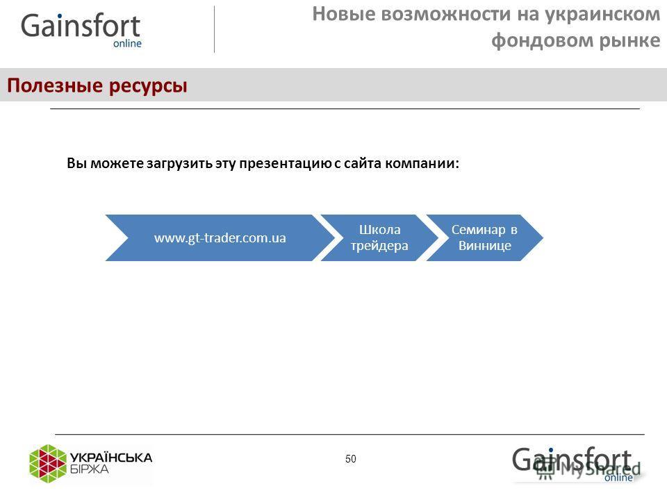 Новые возможности на украинском фондовом рынке Полезные ресурсы 50 Вы можете загрузить эту презентацию с сайта компании: www.gt-trader.com.ua Школа трейдера Семинар в Виннице
