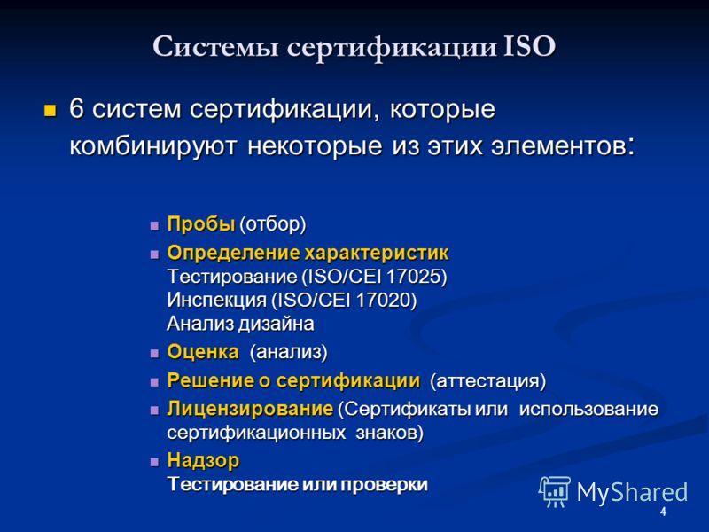 4 Системы сертификации ISO 6 систем сертификации, которые комбинируют некоторые из этих элементов : 6 систем сертификации, которые комбинируют некоторые из этих элементов : Пробы ( отбор ) Пробы ( отбор ) Определение характеристик Тестирование (ISO/C