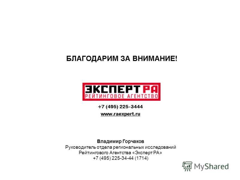 Владимир Горчаков Руководитель отдела региональных исследований Рейтингового Агентства «Эксперт РА» +7 (495) 225-34-44 (1714)