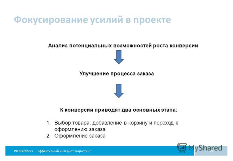 WebProfiters эффективный интернет-маркетинг Фокусирование усилий в проекте 39 Анализ потенциальных возможностей роста конверсии Улучшение процесса заказа К конверсии приводят два основных этапа: 1.Выбор товара, добавление в корзину и переход к оформл