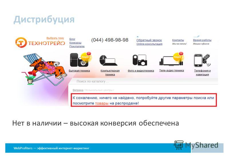 WebProfiters эффективный интернет-маркетинг Дистрибуция Нет в наличии – высокая конверсия обеспечена