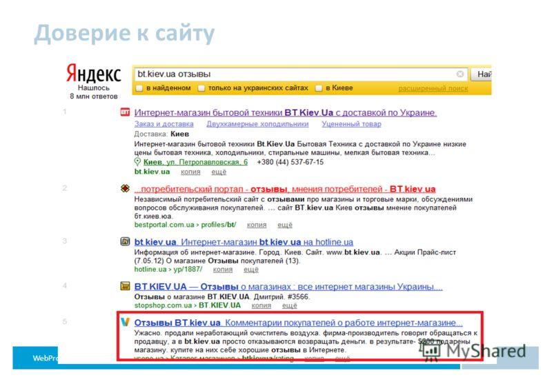 WebProfiters эффективный интернет-маркетинг Доверие к сайту