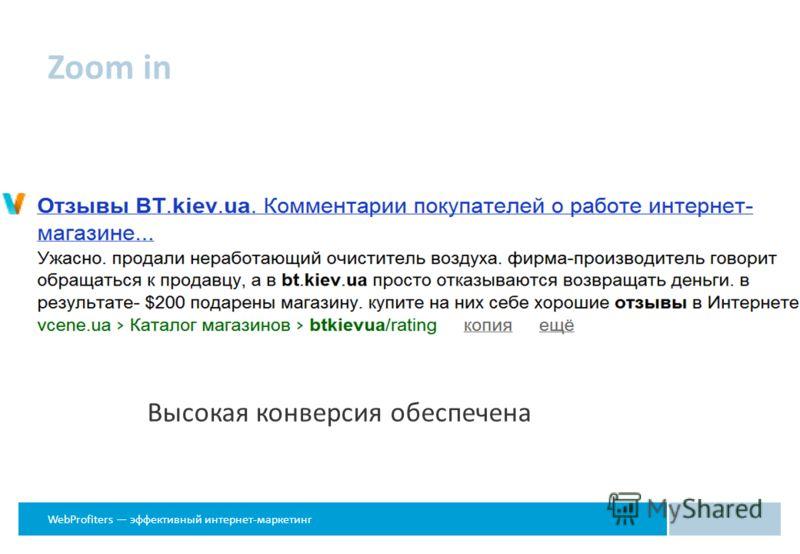 WebProfiters эффективный интернет-маркетинг Zoom in Высокая конверсия обеспечена
