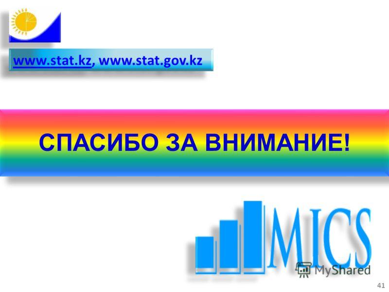 www.stat.kzwww.stat.kz, www.stat.gov.kz www.stat.kzwww.stat.kz, www.stat.gov.kz 41 СПАСИБО ЗА ВНИМАНИЕ!