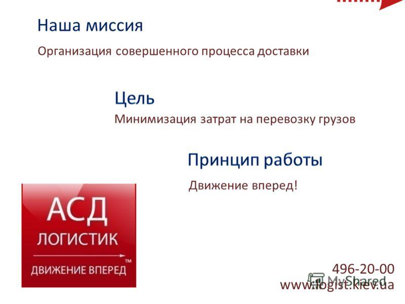 496-20-00 www.logist.kiev.ua Наша миссия Организация совершенного процесса доставки Движение вперед! Минимизация затрат на перевозку грузов