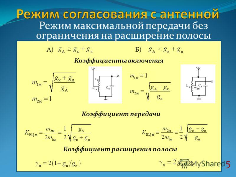 5 Режим максимальной передачи без ограничения на расширение полосы А) Коэффициент передачи Коэффициент расширения полосы Коэффициенты включения Б)