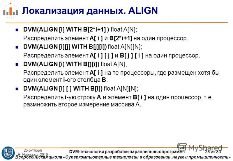 Всероссийская школа «Суперкомпьютерные технологии в образовании, науке и промышленности» Локализация данных. ALIGN DVM(ALIGN [i] WITH B[2*i+1] ) float A[N]; Распределить элемент A[ i ] и B[2*i+1] на один процессор. DVM(ALIGN [i][j] WITH B[j][i]) floa
