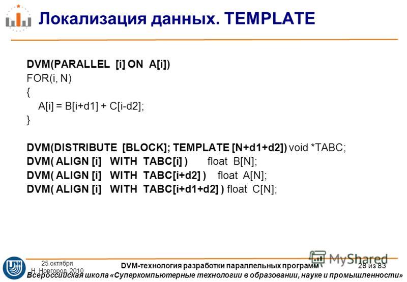 Всероссийская школа «Суперкомпьютерные технологии в образовании, науке и промышленности» Локализация данных. TEMPLATE DVM(PARALLEL [i] ON A[i]) FOR(i, N) { A[i] = B[i+d1] + C[i-d2]; } DVM(DISTRIBUTE [BLOCK]; TEMPLATE [N+d1+d2]) void *TABC; DVM( ALIGN
