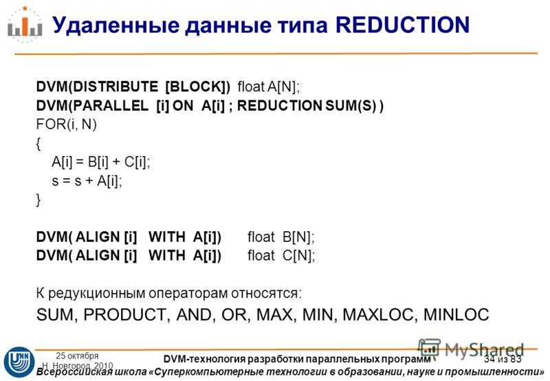 Всероссийская школа «Суперкомпьютерные технологии в образовании, науке и промышленности» Удаленные данные типа REDUCTION DVM(DISTRIBUTE [BLOCK]) float A[N]; DVM(PARALLEL [i] ON A[i] ; REDUCTION SUM(S) ) FOR(i, N) { A[i] = B[i] + C[i]; s = s + A[i]; }