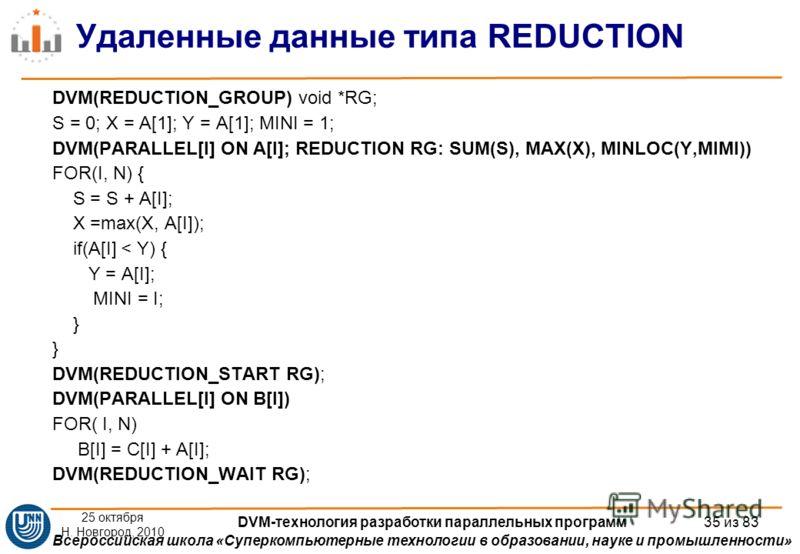 Всероссийская школа «Суперкомпьютерные технологии в образовании, науке и промышленности» Удаленные данные типа REDUCTION DVM(REDUCTION_GROUP) void *RG; S = 0; X = A[1]; Y = A[1]; MINI = 1; DVM(PARALLEL[I] ON A[I]; REDUCTION RG: SUM(S), MAX(X), MINLOC