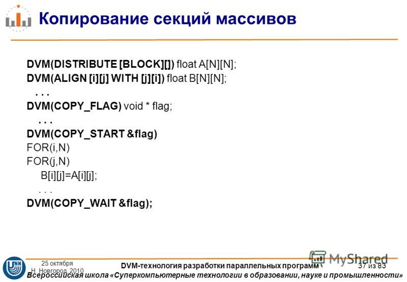 Всероссийская школа «Суперкомпьютерные технологии в образовании, науке и промышленности» Копирование секций массивов DVM(DISTRIBUTE [BLOCK][]) float A[N][N]; DVM(ALIGN [i][j] WITH [j][i]) float B[N][N];... DVM(COPY_FLAG) void * flag;... DVM(COPY_STAR