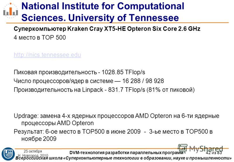 Всероссийская школа «Суперкомпьютерные технологии в образовании, науке и промышленности» National Institute for Computational Sciences. University of Tennessee Суперкомпьютер Kraken Cray XT5-HE Opteron Six Core 2.6 GHz 4 место в TOP 500 http://nics.t