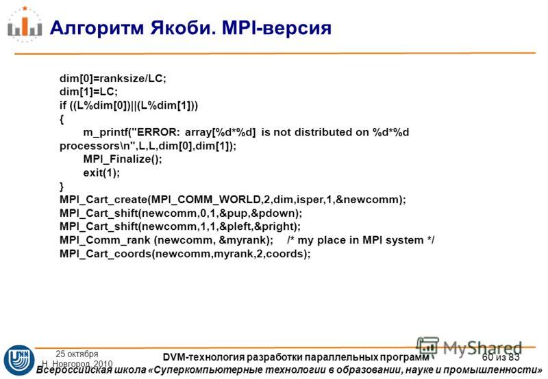 Всероссийская школа «Суперкомпьютерные технологии в образовании, науке и промышленности» Алгоритм Якоби. MPI-версия dim[0]=ranksize/LC; dim[1]=LC; if ((L%dim[0])||(L%dim[1])) { m_printf(