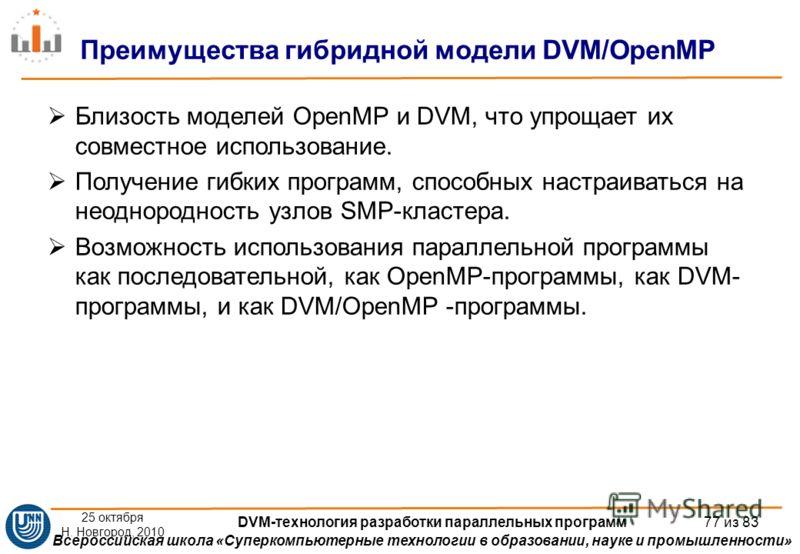 Всероссийская школа «Суперкомпьютерные технологии в образовании, науке и промышленности» Близость моделей OpenMP и DVM, что упрощает их совместное использование. Получение гибких программ, способных настраиваться на неоднородность узлов SMP-кластера.