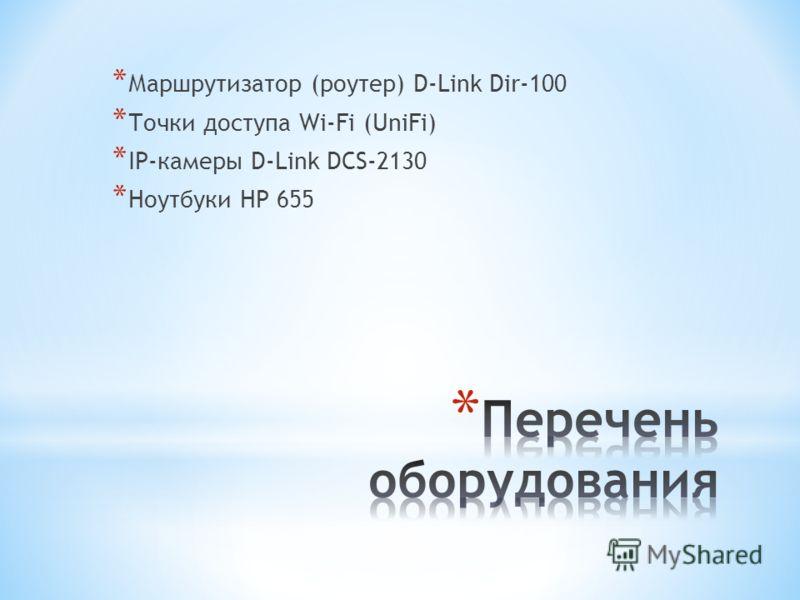 * Маршрутизатор (роутер) D-Link Dir-100 * Точки доступа Wi-Fi (UniFi) * IP-камеры D-Link DCS-2130 * Ноутбуки HP 655