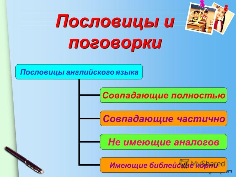 www.themegallery.com Пословицы английского языка Совпадающие полностью Совпадающие частично Не имеющие аналогов Имеющие библейские корни Пословицы и поговорки Пословицы и поговорки